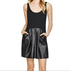 WILFRED Black Pompe Faux Leather Pocket Dress